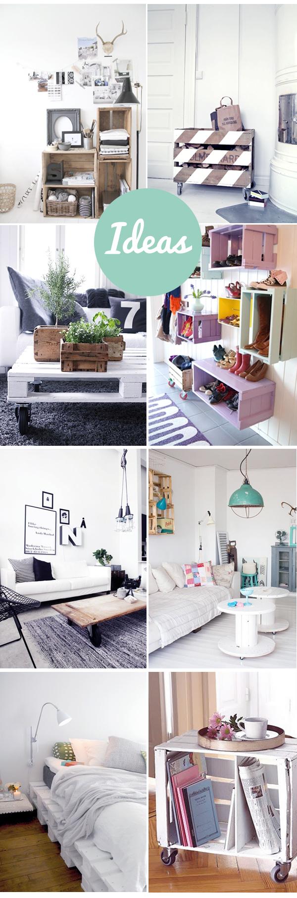 Muebles reciclados con cajas y palets de madera for Reciclar una cama de madera