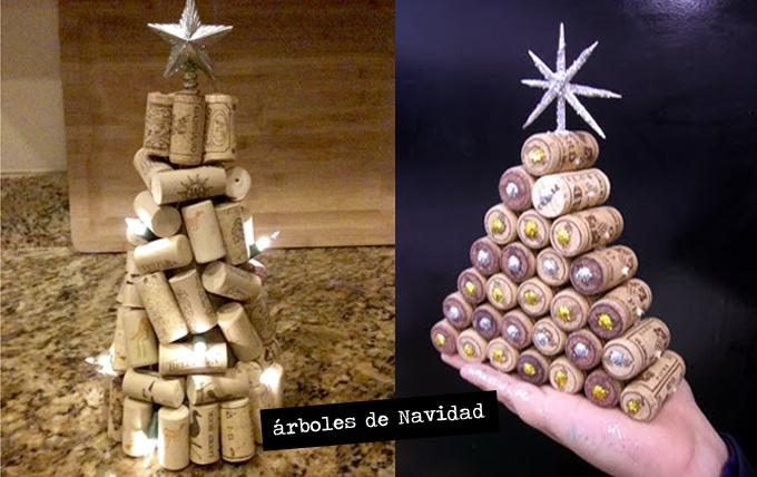 árboles Navidad tapones corcho