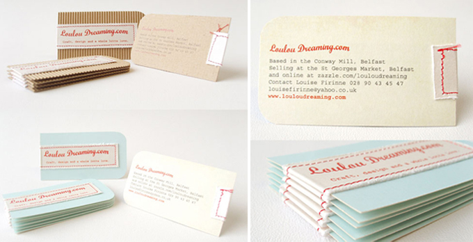 tarjetas de visita handmade - cosida