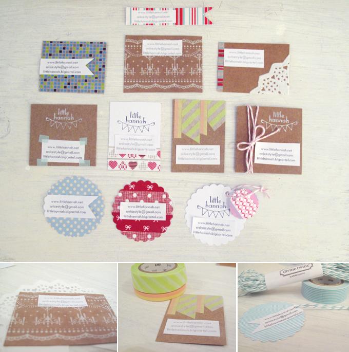 tarjetas de visita handmade - washitape