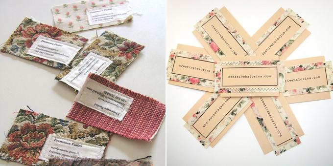 tarjetas de vista handmade - tela