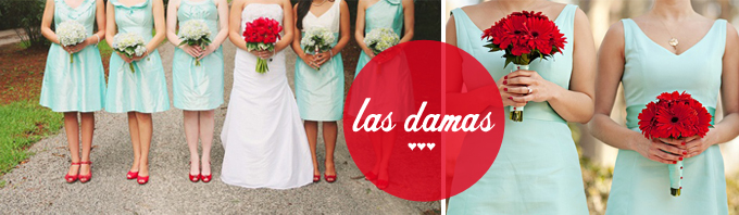 damas de honor mint y rojo