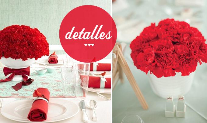 detalles decoracion boda rojo y mint