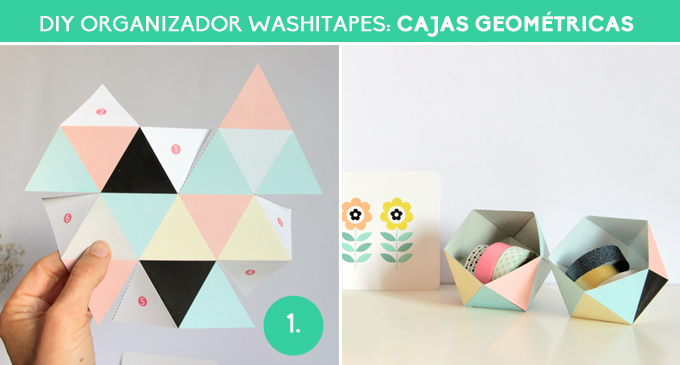 diy organizador washitapes - cajas geometricas