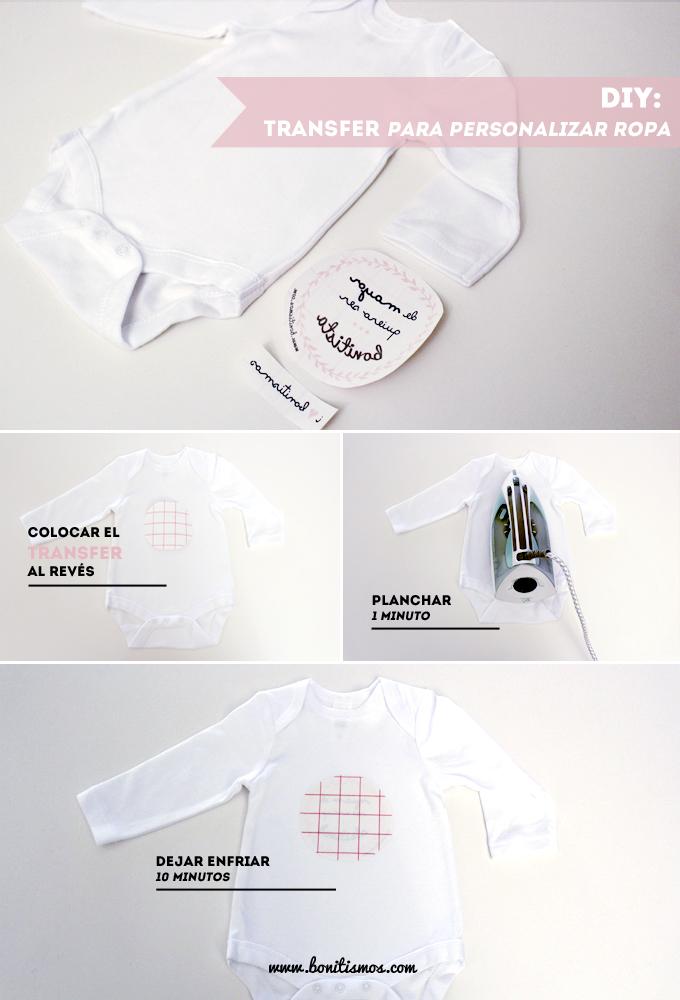 diy transfer para personalizar body bebé
