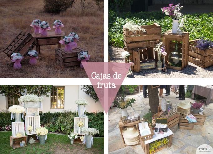 Decoraci n de reciclaje en una boda for Cajas madera fruta decoracion