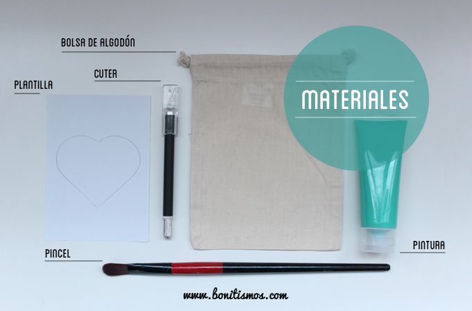 diy bolsa corazon- materiales