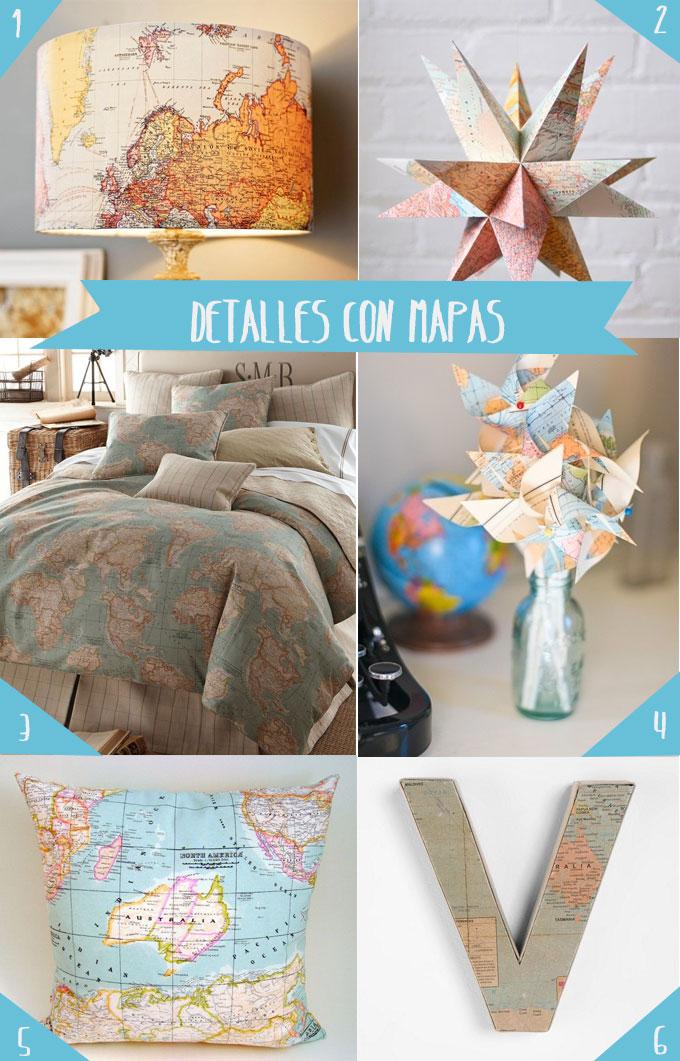 Decoraci n con mapas el mundo en tu casa bonitismos for El mundo decoracion