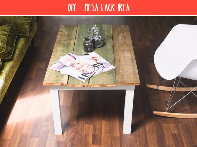 Diy mesa lack con madera bonitismos - Mesa tv ikea lack ...