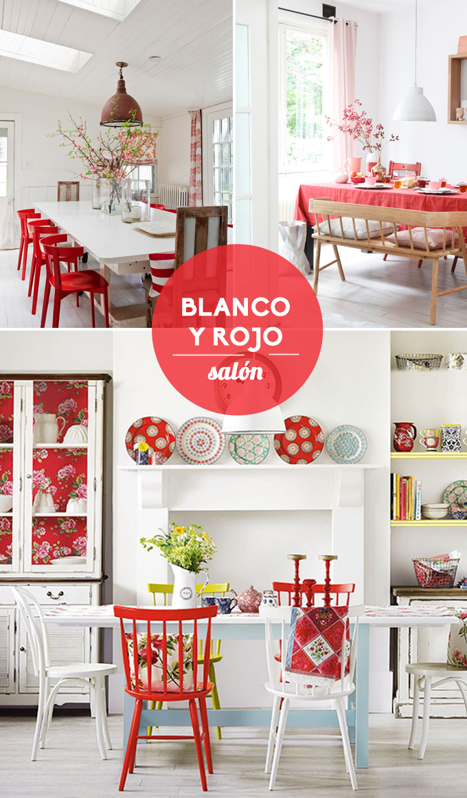 Inspiraci n blanco y rojo for Articulos decoracion salon