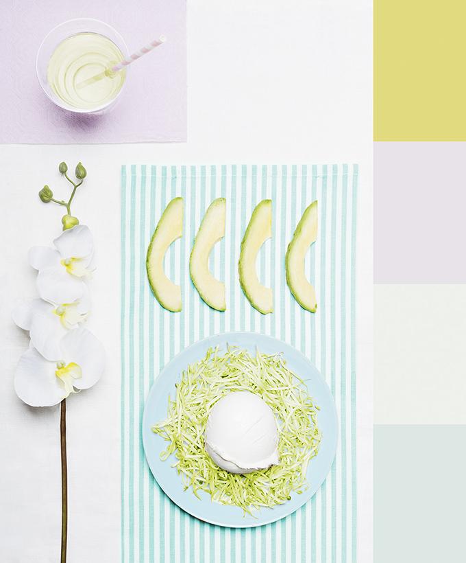 comida de colores pastel