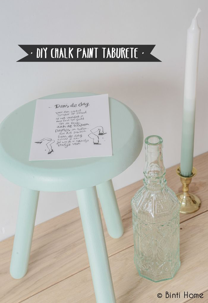 diy chalk paint taburete