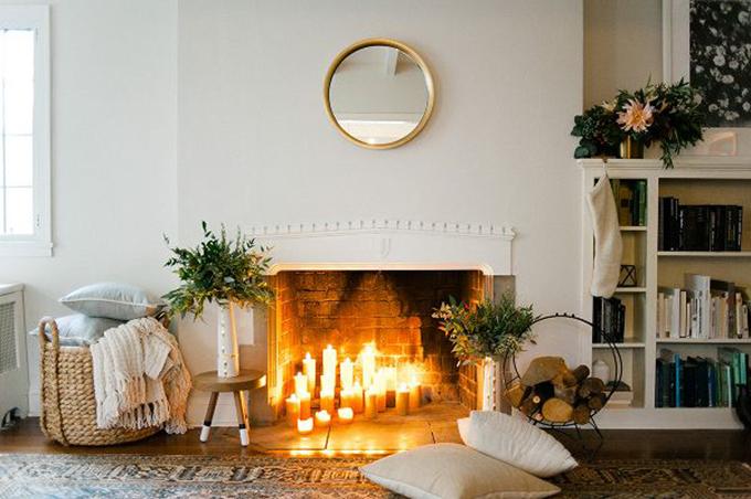 Chimenea con velas bonitismos for Chimeneas de madera