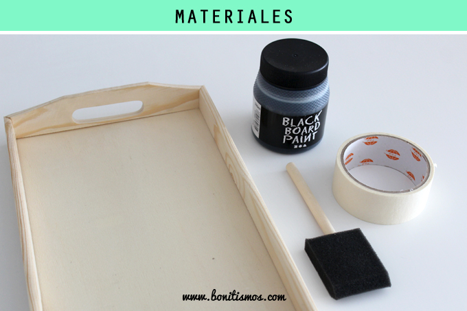 materiales diy bandeja pizarra