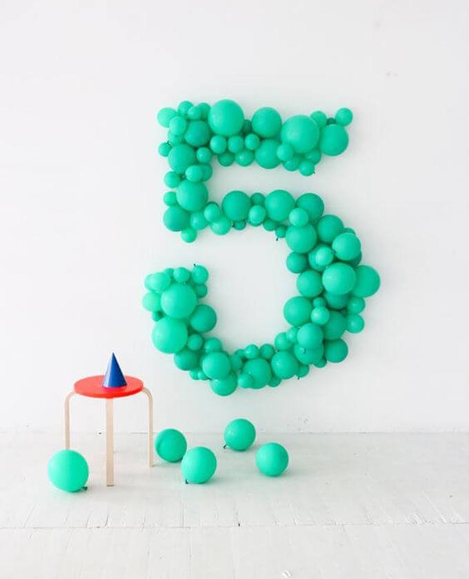 número con globos