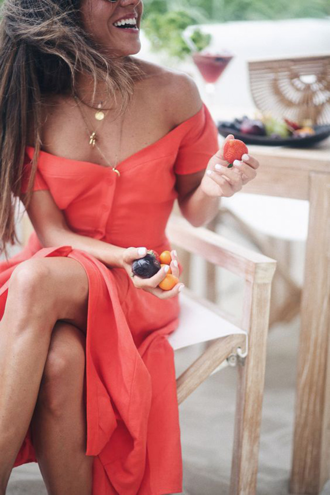 vestido lino coral