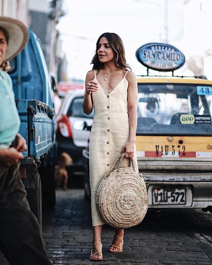 vestido lino beige
