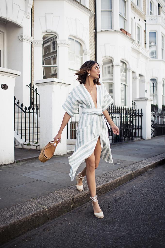 vestido lino rayas