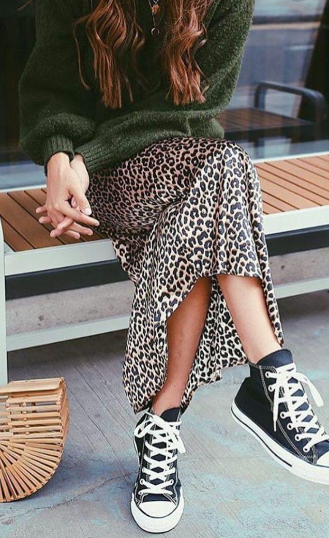 falda midi animal print
